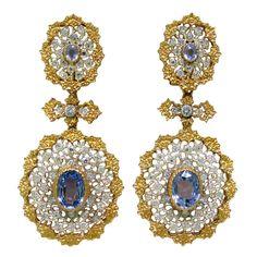 Important Buccellati Sapphire Diamond Earrings , Earrings with diamonds and sapphires. measurements: total length 63mm long, bottom: 30mm X 28mm.