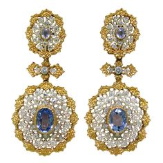 Important Buccellati Sapphire Diamond Earrings , Earrings with diamonds and sapphires. measurements: total length 63mm long, bottom: 30mm X 28mm.