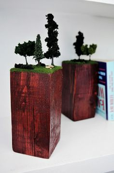 Beautifully Creative DIY Bookends DIY Diorama Bookends