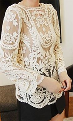 Crochet lace embroidery cutout top //