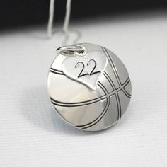 Hand-Stamped Basketball Necklace with Heart Charm stamped with Number