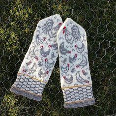 Knitted Mittens Pattern, Knit Mittens, Knitted Gloves, Knitting Patterns, Chicken Pattern, Chicken Crafts, Cross Stitch Bird, Fair Isle Knitting, Crochet Yarn