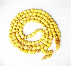 Fashion Cool Turquoise 108 Yellow Vein 10x12mm Skull Beads Necklace ZZ1018