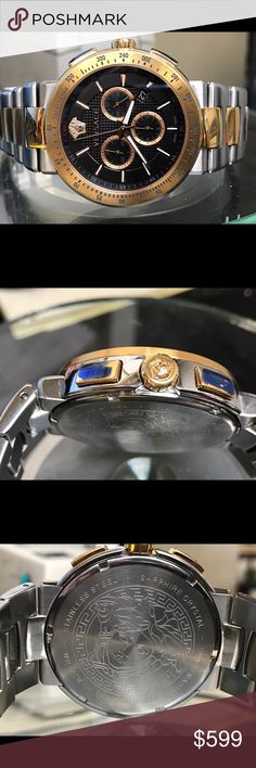 Versace men's two tone watch Pre owned watch have  discoloration on gold part. Reasonable offers welcome. Versace Accessories Watches