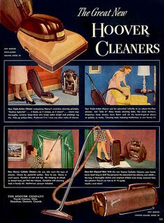 Have you seen the great new Hoover Cleaners? #vintage #1940s #vacuum_cleaners #ads #homemaker