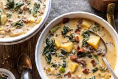 This super simple Instant Pot Pesto Zuppa Toscana is the perfect cold-weather dinner.great for nights when I'm craving Italian, but want something warming Instant Pot, Italian Chicken Sausage, Zucchini Soup, Chickpea Soup, Zuppa Toscana, Italian Soup, Low Sodium Chicken Broth, Half Baked Harvest, Fun Cooking