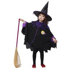 MOONIGHT Black and Purple Halloween Costumes with Hat Girl Witch Costume Dress with Zipper Party Cosplay Clothing for Kids Girl