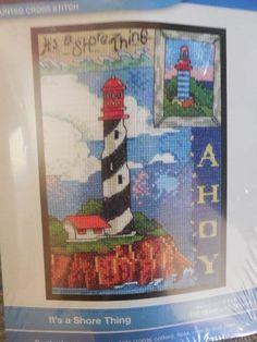 BUCILLA IT'S A SHORE THING Lighthouse Counted Cross Stitch KIT #WM46047 #Bucilla