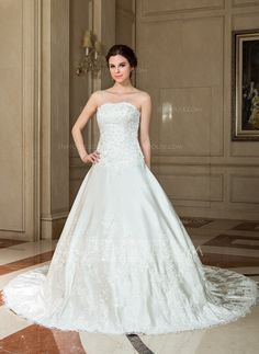 A-Line/Princess Sweetheart Chapel Train Satin Wedding Dress With Lace Beading Sequins (002004541)