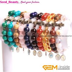 10Mm Natural Stone Round Pyrite Christian Prayer Beads Bracelet Jewelry 7 Inch