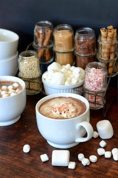 Hot Chocolate Station - Vintage spice rack with hot chocolate toppings!
