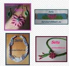 Näissä kuvissa on Satu Ruokamon tekemiä helmitöitä. Satu käyttää Koralekin lasihelmet, siemenhelmet, langat ja muut korutarvikkeet. Satu opettaa helmitöitä Hiiden opistolla Vihdin Pitäjänkeskuksessa ja nämä korut ovat olleet muun muassa kurssin aiheena viime talvena. Uusi kurssi alkaa jälleen syyskuussa. Satu on erittäin kärsivällinen opettaja. Seed Bead Jewelry, Seed Beads, Beaded Jewelry, Jewellery, Satu, Crochet Necklace, Frame, Jewelery, Crochet Collar