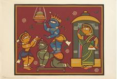 Limited Edition Print by Jamini Roy, size 14 x 20 inches, published in 2003 by Archer Art Gallery. Jamini Roy, What To Do Today, India Art, Indian Artist, Sign Printing, Limited Edition Prints, Pencil Drawings, Art For Kids, Paint Colors