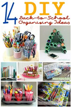 14 DIY Organizing Ideas for Back-to-School  - If you are looking for a creative away to organize and store school supplies, check out this list of amazing ideas. (http://aboutfamilycrafts.com/14-diy-organizing-ideas-for-back-to-school/)