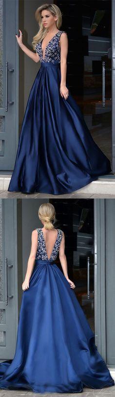 A-line V-neck Beaded Bodice Navy Blue Satin Long Prom Dresses Prom Dresses Navy Prom Dresses V-neck Prom Dresses A-Line Prom Dresses Prom Dresses Blue Prom Dresses Long