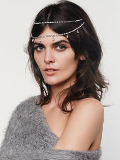 Crystals Back Halo | Add a little glitz and glamour to your do with this double layered American made rhinestone hair piece.  Features dandling charm accents. Clips onto your hair securely with steel hair clips.