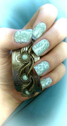 Turquoise textured nails
