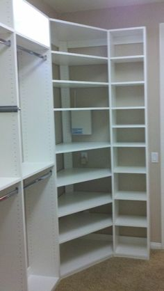 Corner shelves for closet - build her shelves like these, but more room in the middle