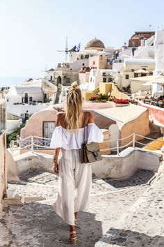 Nude shades & Gucci earrings All neutral in Fira, Santorini | Gucci Dionysus bag, off shoulder top, Faithfull pants: www.ohhcouture.co... | #ohhcouture #leoniehanne