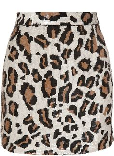 Ashish Beige Sequin Leopard Miniskirt