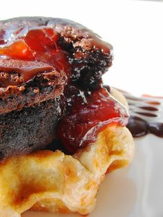 Swiss Chocolate Cherry Lava Cake on Belgian Waffle with Chocolate Stout Coulis