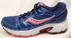 Saucony Running Shoes 7 Womens Grid Oasis 2 Metallic Blue Neon Coral New