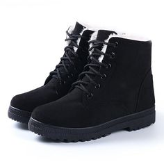 Amazon.com | Women's Winter Snow Boots Plus Warm Cotton Boots With... ($16) ❤ liked on Polyvore featuring shoes, boots, black flat boots, flat boots, wide width shoes, wide shoes and black boots