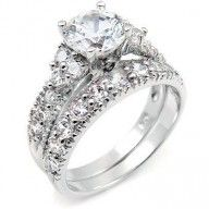 Sterling Silver Cubic Zirconia CZ #Wedding #Engagement #Ring Set