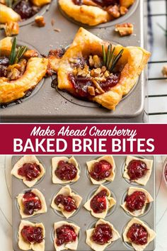 These EASY Baked Brie Bites are the ultimate make-ahead holiday appetizer and will wow your guests! Made with puff pastry Brie cheese cranberry and pecans. Everyone loves this easy recipe! Try them with raspberry jam apricot pepper jelly or a mix! Baked Brie Puff Pastry, Puff Pastry Appetizers, Brie Appetizer, Make Ahead Appetizers, Puff Pastry Recipes, Holiday Appetizers, Appetizer Recipes, Party Appetizers, Party Recipes