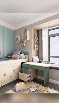 Small Room Design Bedroom, Small House Interior Design, Kids Bedroom Designs, Bedroom Furniture Design, Home Design Decor, Home Room Design, Bedroom Closet Design, Home Decor, Study Room Decor