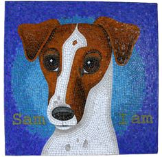 I Am Sam Pet Portrait Mosaic Art by Donna Van Hooser © 2005 All Rights Reserved