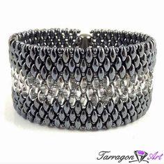 Bransoletka Beaded Elegance - Silver & Hematite - Beaded Elegance / Bransoletki - Tarragon Art - stylowa biżuteria artystyczna