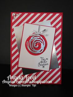 Swirly Christmas card.  The Stampin' Up! Swirly Bird and Swirly Scribbles thinlit dies whilst an everyday set, is versatile and can be used to create Christmas cards.  All products available from my online store: http://www3.stampinup.com/ECWeb/ProductDetails.aspx?productID=142353&dbwsdemoid=4011749 #angelaspaperarts