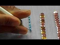 ▶ AARI / TAMBOUR /MAGGAM EMBROIDERY: how to sew bungle bead with a aari needle - YouTube