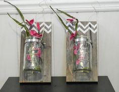 Mason Jar Wall Art reclaimed barnwood & mason jar wall art hand-painted wood sign