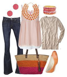"""""""orange & pink"""" by htotheb ❤ liked on Polyvore featuring Frankie B., Rafé New York, Mossimo, Forever 21, Schumacher, Amrita Singh, Nine West, pink, orange and tan"""