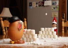 Best Elf on the Shelf yet? Snow fort / snowball fight....love the flour snow and marshmallow forts!