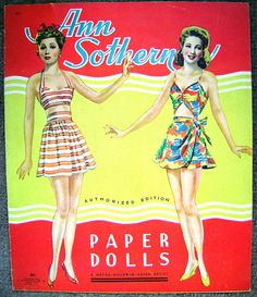 1940's Movie Star Glamour!  Ann Southern Paper Dolls!