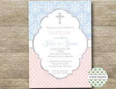 Twin Baptism Invitation/Elegant Twins baptism invitation/printable ...