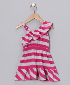 Take a look at this Fuchsia Stripe One-Shoulder Dress - Girls by Cherry Stix on #zulily today!