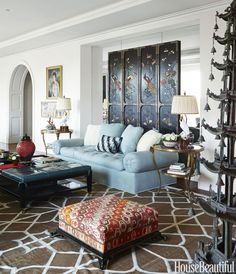 East meets West in a Dallas apartment that textiles designer Lisa Fine decorated with a luscious abundance of pattern and color for her mother.