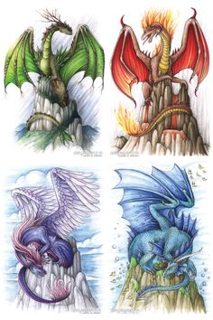 Dragon elements finally together!There they are, each and every one: Originals are now FOR SALE and I also offer postcards. Elements - Together Fantasy Dragon, Fantasy Art, Dragon's Lair, Dragon Artwork, Cool Dragon Drawings, Dragon Pictures, Mythological Creatures, Sword And Sorcery, Magical Creatures