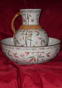 Brownhill Majolica Wash Bowl and Pitcher Bamboo Trellis Pattern | eBay