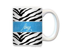 Black/Turquoise Zebra Personalized Coffee Mug from Paper Concierge