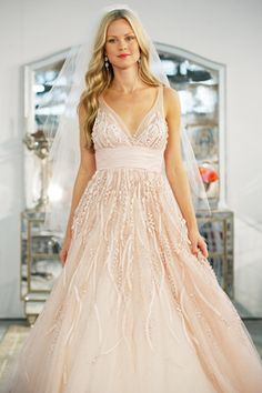 Love everything about this look! #Watters pink wedding dress #Fall2013 #WeddingDress