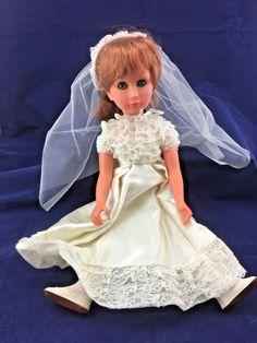 Vintage Bettina Sebino Vinyl Bride Doll Wedding Dress Italy 16in (A7) | eBay Bride Dolls, Italy, Bridal, Disney Princess, Wedding Dresses, Life, Vintage, Elegant, Bridal Dresses