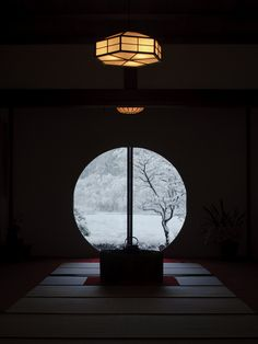 The snowy view from the window of Meigetsu-in temple, Kamakura, Japan (Bonus: hexagon lights! Japanese Interior, Japanese Design, Japanese Art, Traditional Japanese, Style Japonais, Art Japonais, Kamakura, Japanese Architecture, Japanese House