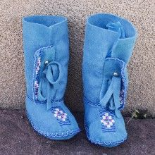 TURQOISE BLUE LEATHER HIGH BEADED BABY MOCCASINS by JANET WHITEMAN - CHEYENNE