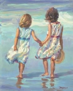Painting:Lucelle Raad, Little Ladies This reminds me of my sister Kayla & I. Painting People, Painting For Kids, Painting & Drawing, Art For Kids, Art Children, Art Et Illustration, Illustrations, Art Des Gens, Art Plage