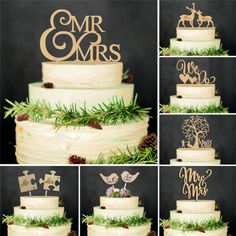 Wooden Mr &Mrs Bride Groom Wedding Love Cake Topper Party Favors Decoration